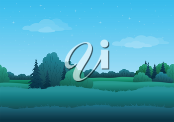 Seamless background, cartoon summer morning landscape: forest and sky with stars. Vector