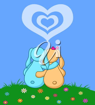 Valentine cartoon, rabbits lovers on flower meadow under cloudy heart. Vector