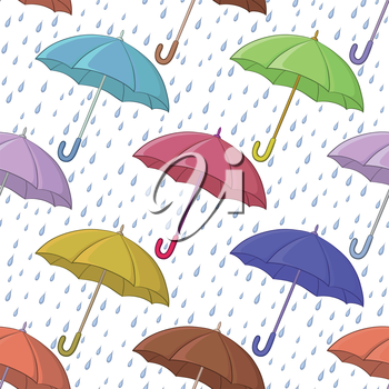 Seamless background, various colorful umbrellas and blue rain drops on white. Vector