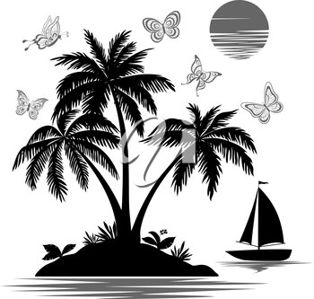 Tropical Sea Island with Palm Trees and Exotic Flowers, Ship, Butterflies and Sun, Set Black Silhouettes and Contours on white Background. Vector