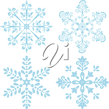 Christmas holiday decorating: set blue winter snowflakes on white background. Vector illustration