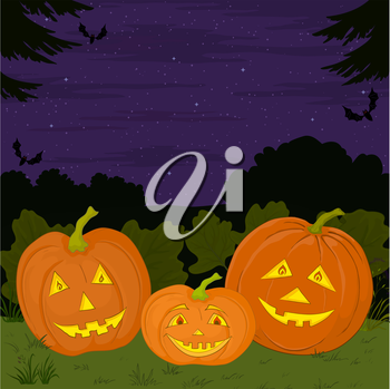 Symbol of a holiday of Halloween: a pumpkins Jack O Lantern family. Vector
