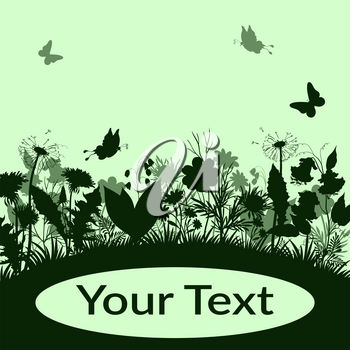 Summer Landscape, Butterflies, Grass, Flowers Dandelions and Bluebells, Leaves Silhouettes on Green Background with Place for Your Text. Vector