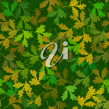 Seamless Background, Tile Nature Pattern, Green, Yellow and Brown Oak Tree Leaves. Vector