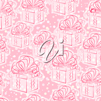 Seamless Pattern, Holiday Wedding or Valentine Gift Boxes with Bows, Red Contours on White and Pink Tile Background. Vector