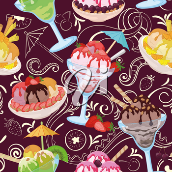 Seamless Pattern, Cups and Glasses, Ice Cream with Berries, Waffles, Nuts and Sweet Syrup on Background with White Outline Pictograms. Vector