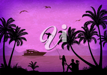Exotic Landscape, People with Kites on Tropical Beach with Palm Trees Silhouettes, Ship In Ocean, Seagulls and Mountain Silhouettes. Vector