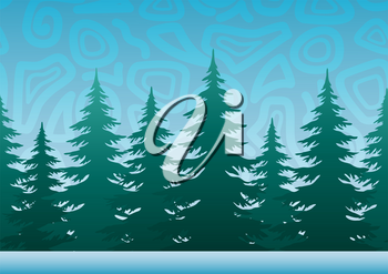 Seamless Horizontal Christmas Holiday Background, Winter Landscape, Fir Trees, Green Silhouettes against the Blue Sky with Abstract Pattern. Vector
