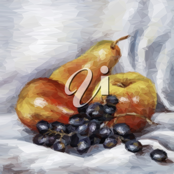 Still Life Fruits Apples, Pears and Grapes. Vector
