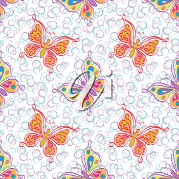 Seamless pattern, outline colorful butterflies on abstract background. Vector