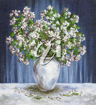 Picture Oil Painting on a Canvas, a Bouquet of Flowers Jasmine in a White Vase