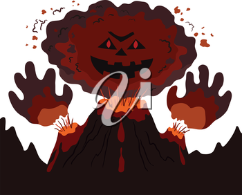 The evil erupting volcano with a human face and hands, cartoon. Vector