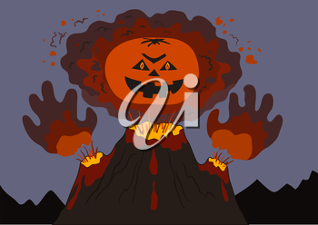 The evil erupting volcano with a human face and hands, cartoon. Vector illustration