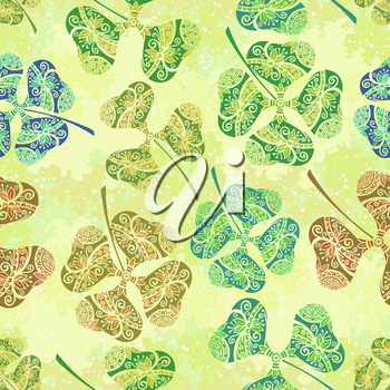 Seamless Background, Tile Ornament, Clover Plants with a Symbolical Floral Pattern, with Three Leaves and Four-Sheeted Quadrifoliate Tetraphyllous Happy. Vector