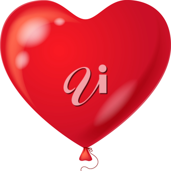 Colorful red balloon in the form of heart, element for holiday background, isolated. Vector eps10, contains transparencies
