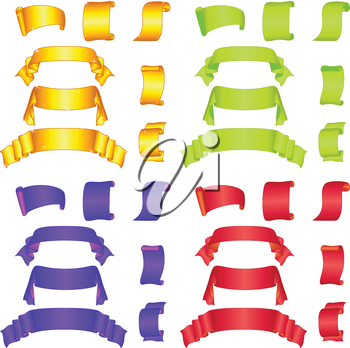 Set banners modern ribbons and scrolls different colors. Vector