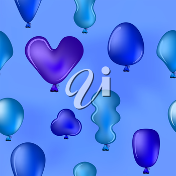 Seamless background, various balloons fly in the blue sky. Vector