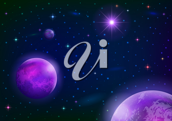 Fantastic space background with three violet planets, sun and stars. Elements of this image furnished by NASA. Vector eps10, contains transparencies