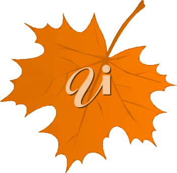 Autumn Maple Leaf Isolated Nature Symbol, Polygonal Low Poly Design. Vector