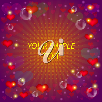 Abstract holiday background with valentine heart, vector eps10