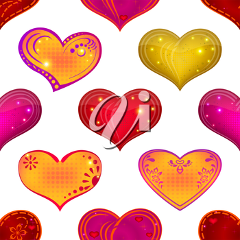 Valentine holiday seamless with hearts, abstract background pattern, symbol of love. Vector eps10, contains transparencies