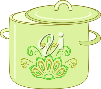 Kitchen utensil, green pan with abstract floral pattern. Vector