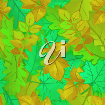 Autumn Nature Background with Leaves of Plants, Polygonal Low Poly Design. Vector