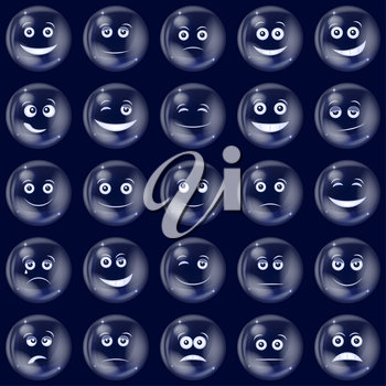 Set of Soap Bubbles Smileys, Symbolizing Various Emotions. Eps10, Contains Transparencies. Vector