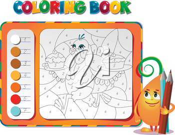 choose the color of the figure. Coloring book about Thanksgiving Day with turkey