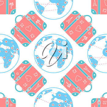 seamless vector pattern background illustration with patterned travel suitcase in a flat style