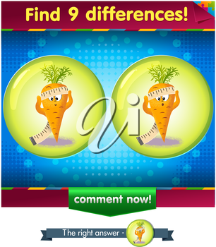 Visual Game for children. Find 9 differences the funny carrot