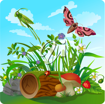 vector children's illustration of nature, in the form of insect life in the forest, in a clearing in the grass