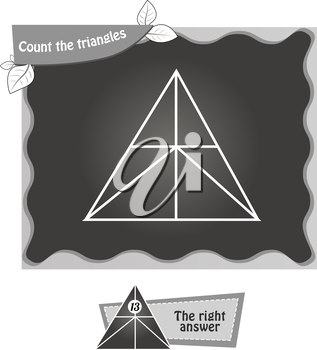 visual game for children. Task: count the triangles. black and white vector illustration