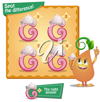 Visual Game for children. Task: Spot the difference letters g