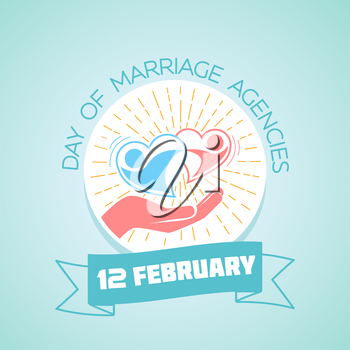 February 12. Greeting card. Holiday - Day of Marriage Agencies. Icon in the linear style