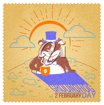 Greeting card. Holiday - happy groundhog day. Icon in the linear style. Retro