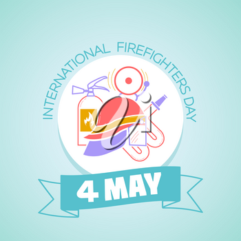 Calendar for each day on may 1. Greeting card. Holiday - International Firefighters' Day. Icon in the linear style