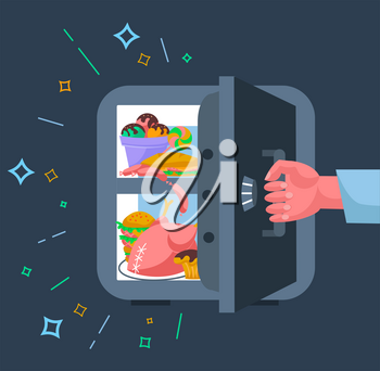 The concept of a diet, in the form of a hand tearing away the safe refrigerator with products, in the form of a symbol of the not to eat harmful products in evenings. Icon in the flat style