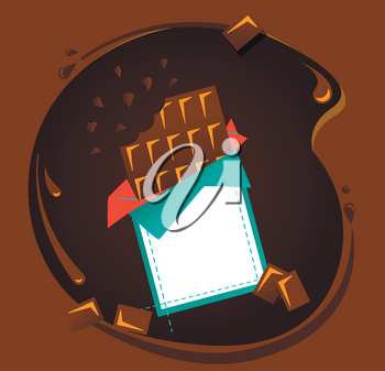 Icon of black or milk chocolate on an abstract background of spreading chocolate in flat style