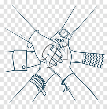 The concept of friendship and support in the form people making pile of hands. Icon, silhouette in the linear style
