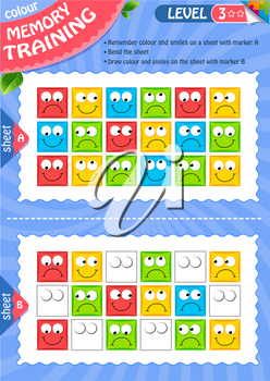 Memory game children and adult. Remember and draw colour and smiles. Memory training