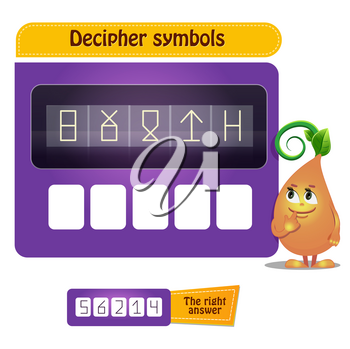 Visual Game for children and adults . Task game decipher symbols
