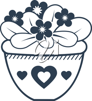 flower violet icon in pot. Icon in modern linear style.