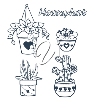 Vector set of modern flat line icons of cactus and succulents, houseplant . black and white illustration