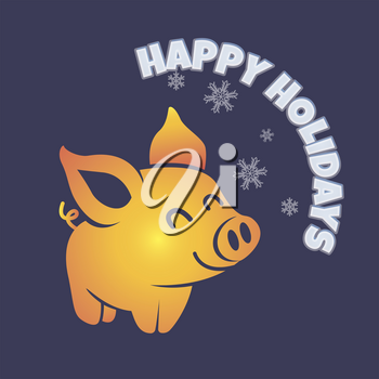 postcard template with a little cartoon pig with congratulations happy holidays.