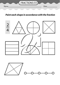 Training material- coloring book. Solve examples and color fractions .Black and white vector illustration.