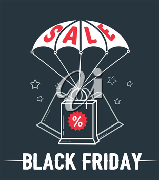 sale banner, poster of black friday in the form of a parachute with packages with percent. Icon in the linear style