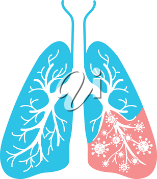 icon of lung disease, pneumonia, asthma, cancer in the form of lung anatomy and viruses, bacteria causing disease. Icon in linear style