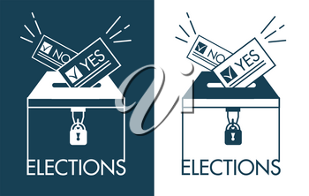 Voting concept - hand putting paper in the ballot box. Icons, silhouette in the linear style isolated on black and white background
