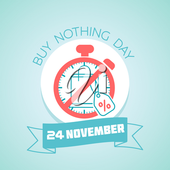 Calendar for each day on november 24. Greeting card. Holiday - Buy Nothing Day. Icon in the linear style